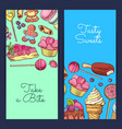 hand drawn sweets vertical banner templates vector image