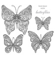 set of black and white ornamental butterflies vector image