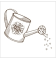 Watering can with flowers vector image