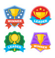 achievement champ and contest logo set vector image vector image