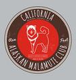 Alaskan malamute club California Tee graphic vector image vector image