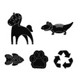 an unrealistic black animal icons in set vector image vector image