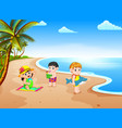 beach view with the children playing vector image vector image