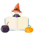 book template with boy on halloween costume vector image vector image