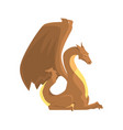brown dragon guard mythical and fantastic animal vector image vector image