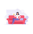 cartoon female character with coffee on sofa flat vector image