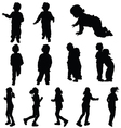 children cute silhouette vector image vector image
