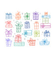 collection colored doodle sketch christmas gift vector image vector image