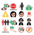 corruption no bribes and present icons vector image vector image