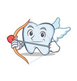 cupid tooth character cartoon style vector image vector image