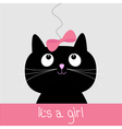 cute cartoon black cat with blue bow bashower vector image