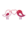 cute couple birds heart in beak valentines day vector image vector image