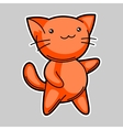 Cute kawaii red cat Sticker for fun vector image