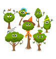 cute trees with faces vector image vector image