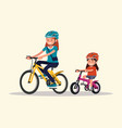 cycling mother and daughter are riding bikes vector image