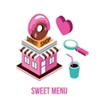Donut shop Coffee love Food isometric infographic vector image vector image