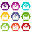 envelope with email sign icon set color hexahedron vector image vector image