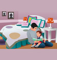 father telling a bedtime story to his daughter vector image vector image