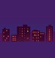flat city night buildings vector image