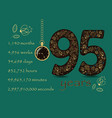 floral card number ninety five and pocket watch vector image vector image