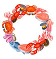 frame with various seafood fish vector image vector image