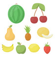 fruits set icons in cartoon style big collection vector image vector image