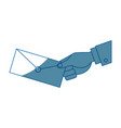 hand holding envelope mail postal icon vector image vector image