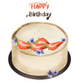 happy birthday cake watercolor sweet vector image