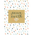 holiday card with inscription peace to earth vector image vector image