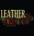 leather coat jackets text background word cloud vector image vector image