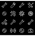line settings wrench icon set vector image
