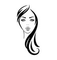 looking woman face with black long hair vector image