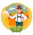 man with beer mug oktoberfest poster festival vector image