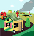 mobile home rides on the road vector image