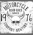 motorcycle skull tee graphic design vector image vector image