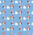 penguins build a snowman pattern vector image vector image