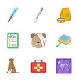 Pet health icons set cartoon style vector image vector image