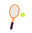 racket and tennis ball close-up graphic art icon vector image