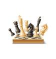 realistic 3d chess pieces chessboard set vector image