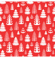 red seamless pattern with christmas trees eps10 vector image