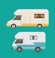 retro camper trailer collection car trailers vector image vector image