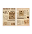 retro newspaper daily news articles yellow vector image vector image