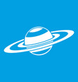 saturn rings icon white vector image vector image