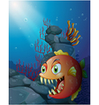 Scary piranha under the sea near the rocks vector image vector image