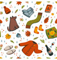 seamless autumn pattern fall season essentials vector image vector image