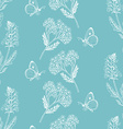 Seamless pattern with herbs on a blue background vector image vector image