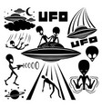 set icons with extraterrestrial aliens vector image