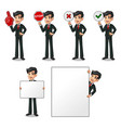 set of businessman in black suit holding sign vector image