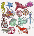 set with marine life organisms vector image vector image