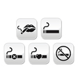Sexy lips with cigarette no smoking button vector image vector image